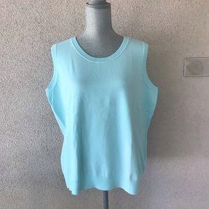 Talbots Pima Blend Sweater Tank Shell 2X Sky Blue